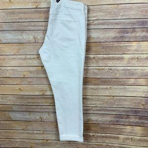 Banana Republic White Skinny Fit Cuffed Jeans